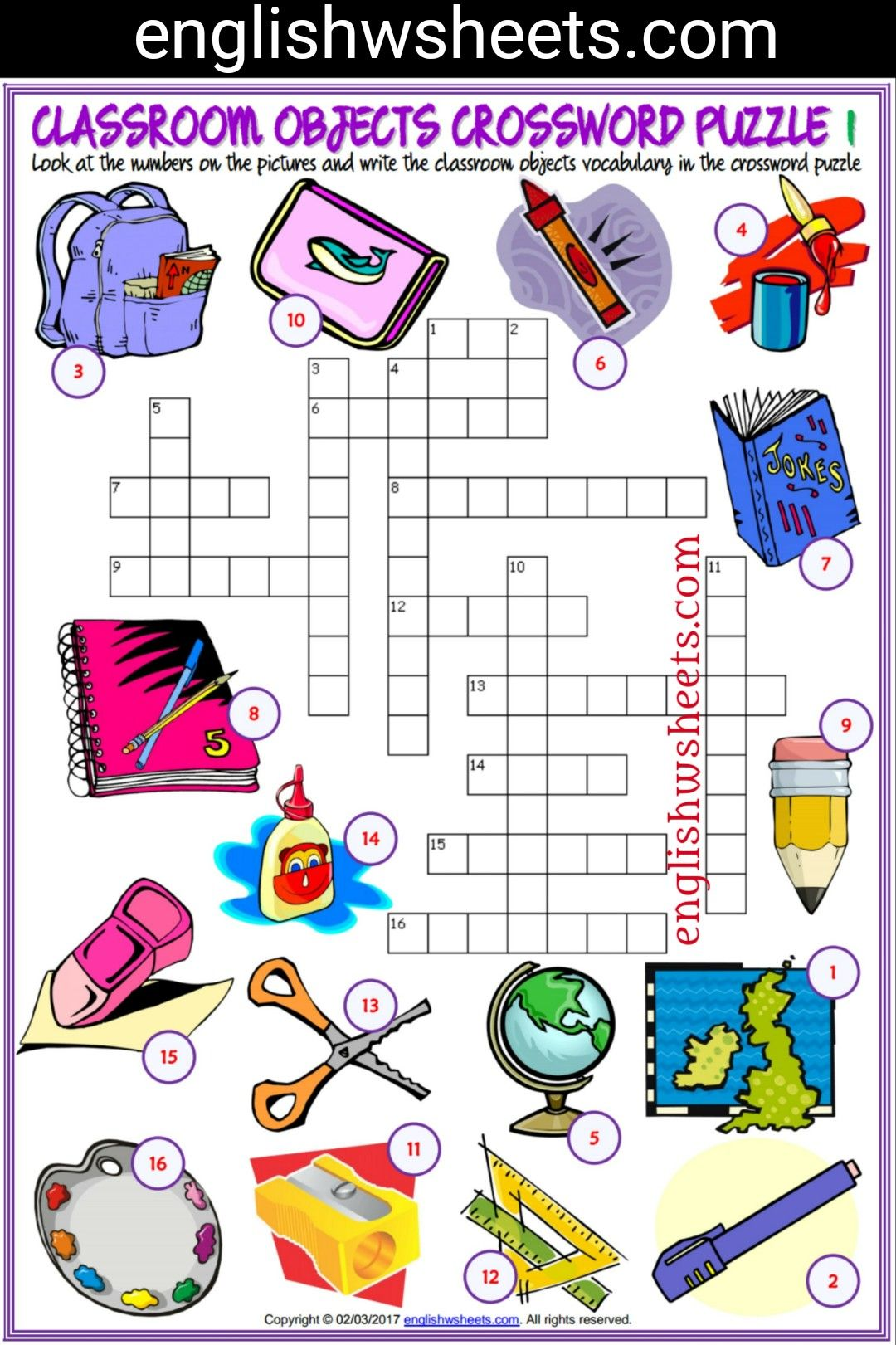 Classroom Objects Esl Printable Crossword Puzzle