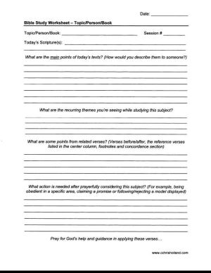 Bible Study Worksheet  TopicPersonBook | Lift me up | Pinterest | Worksheets, Bible and