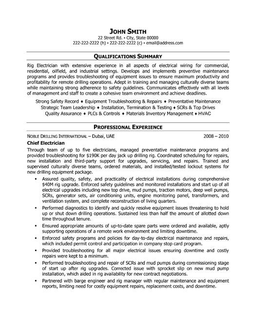 industrial electrician resume sample resumecompanioncom sam