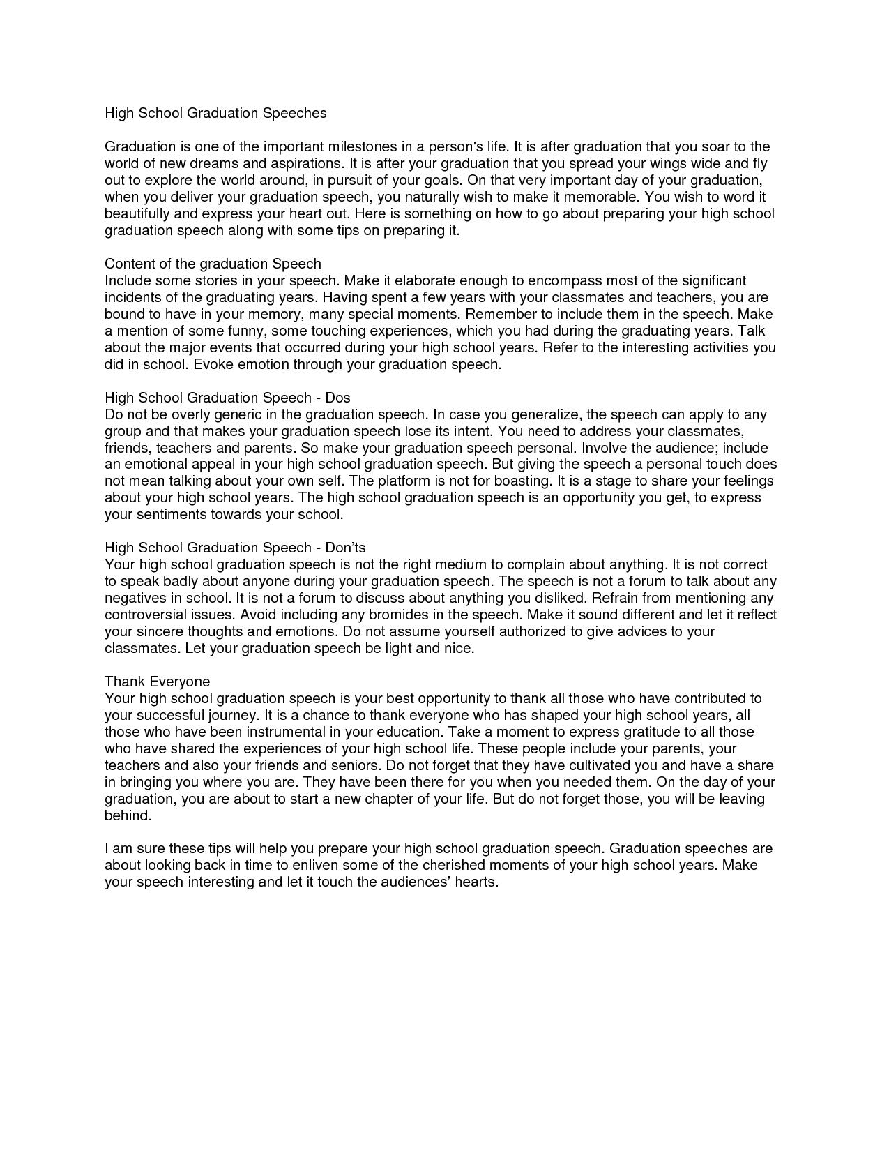 High School Principal Graduation Speech Examples