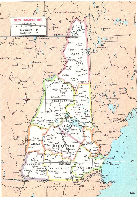 World Atlas Map Of New Hampshire Illustration 4 99 Via
