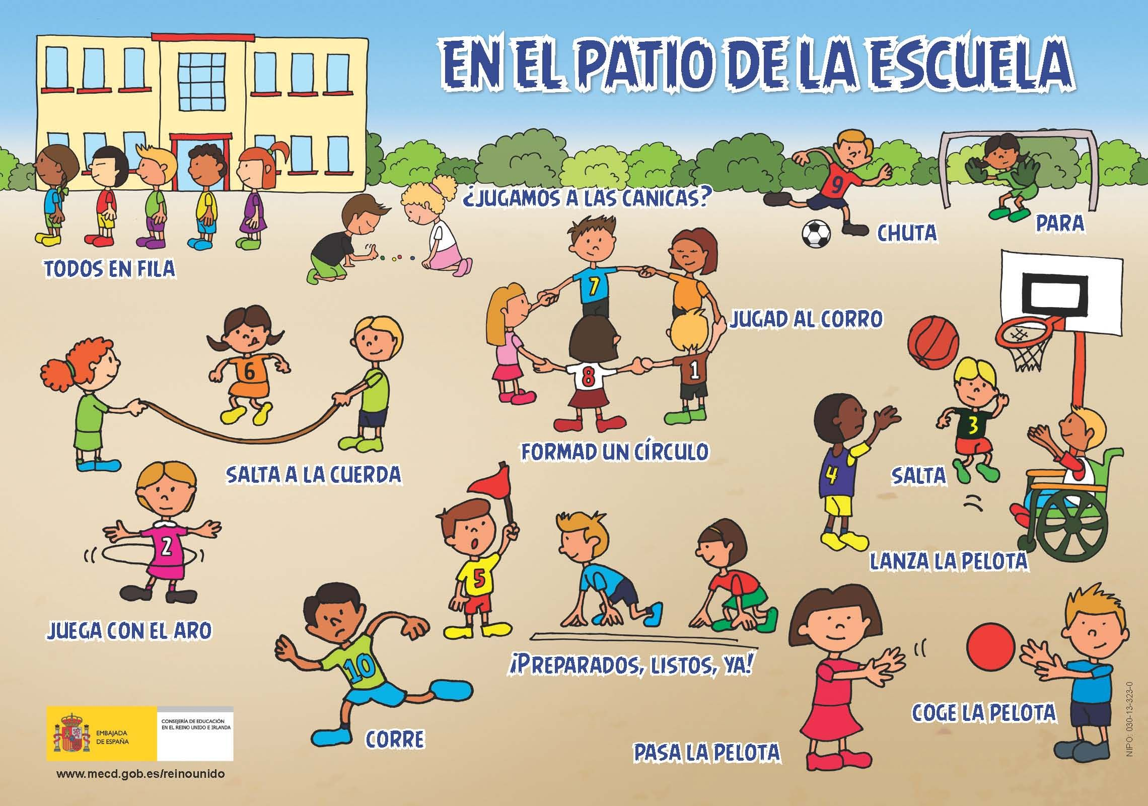 Spanish For Kids En El Patio De La Escuela Good As A