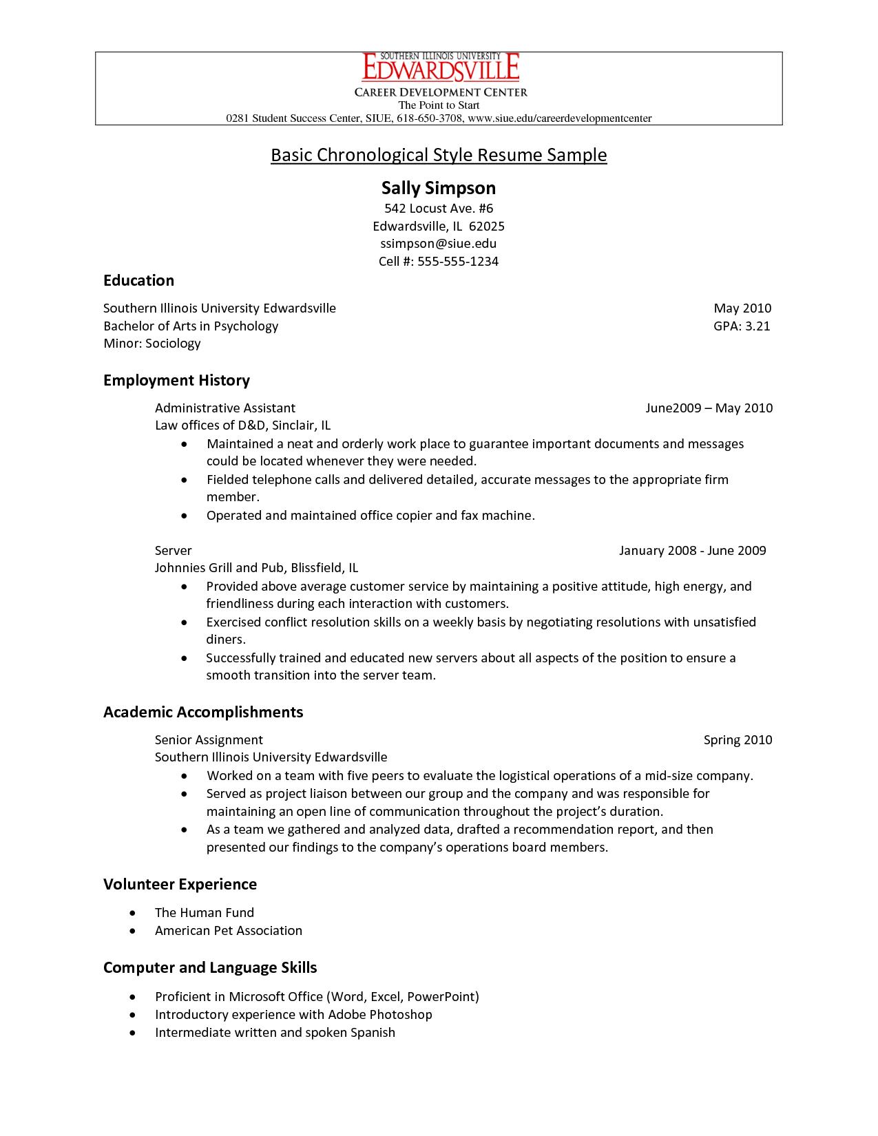 chronological resume samples pdf Google Search School
