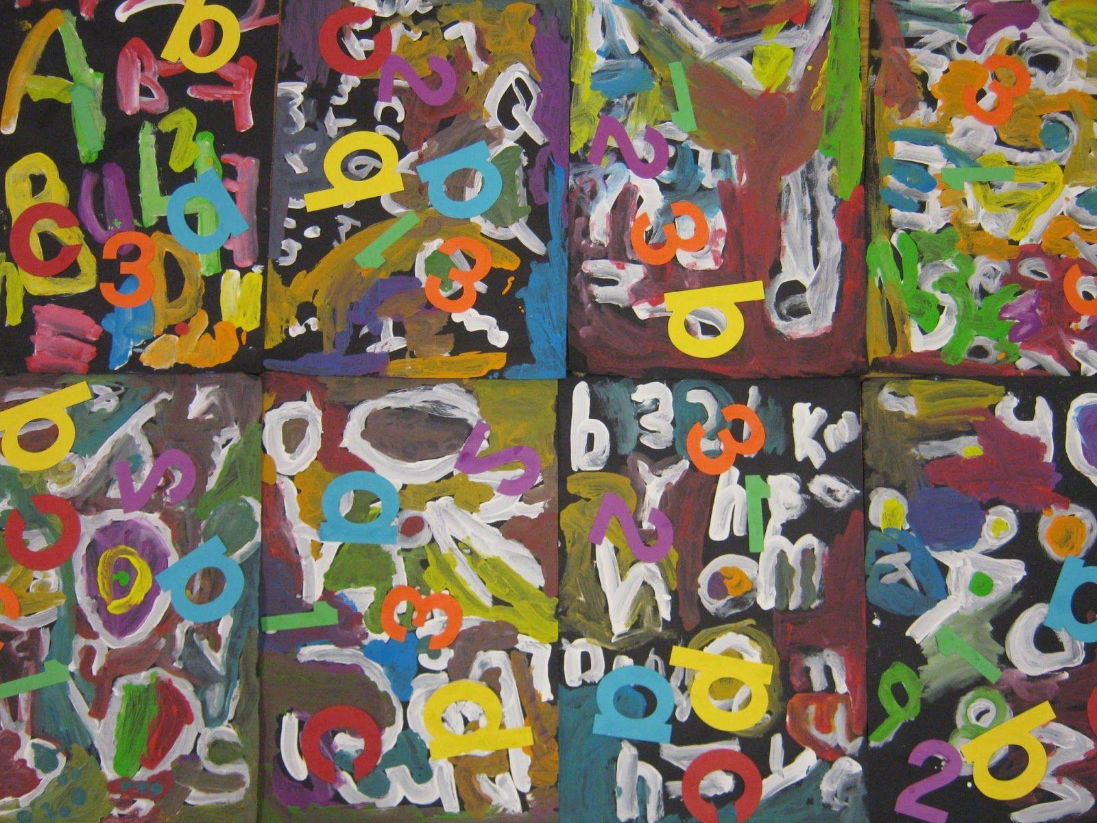 Art In The Big Green Room Kindergarten Abstract Alphabet Painting