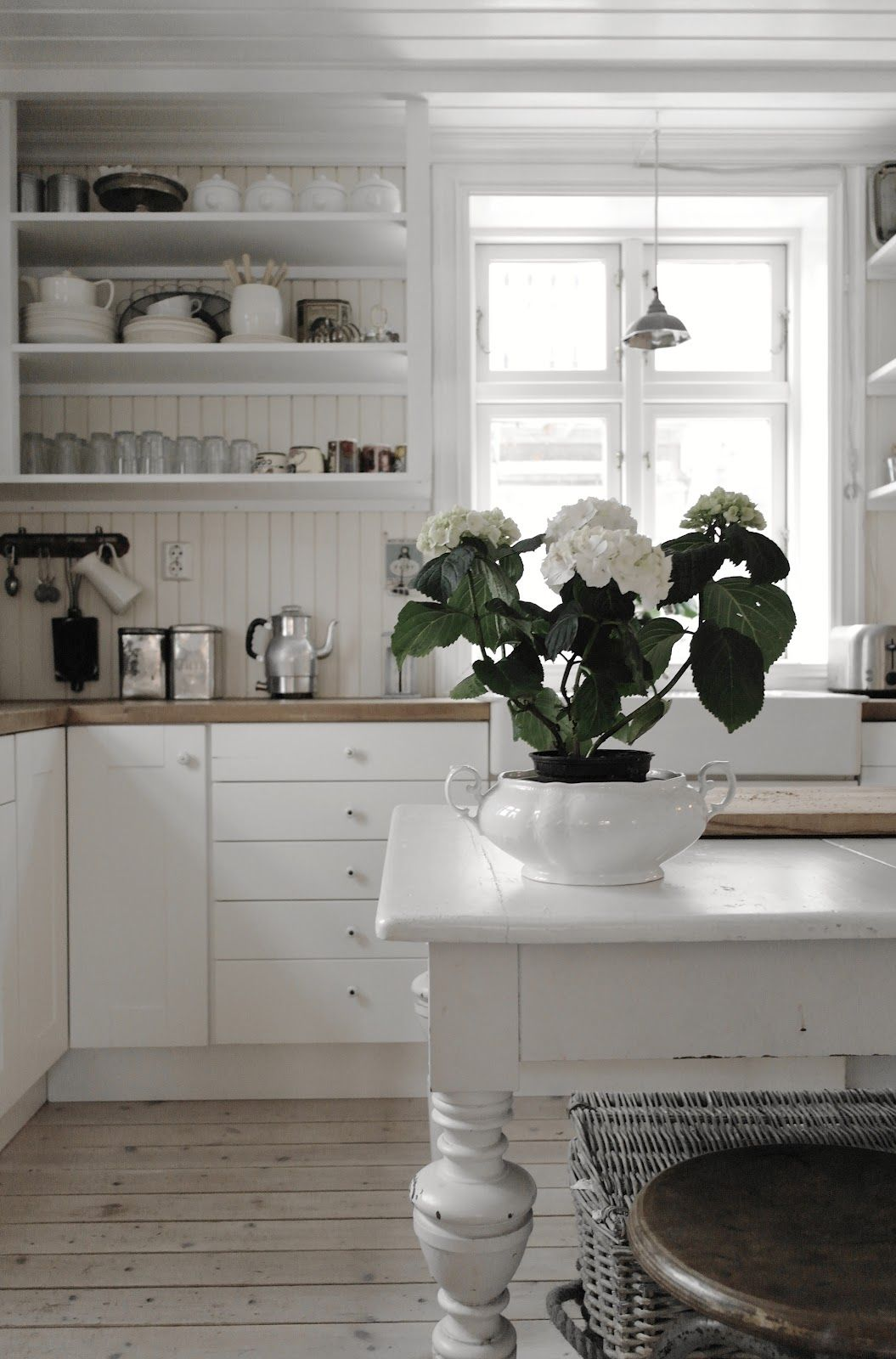 kitchen white decor, I like the wood paneling on the