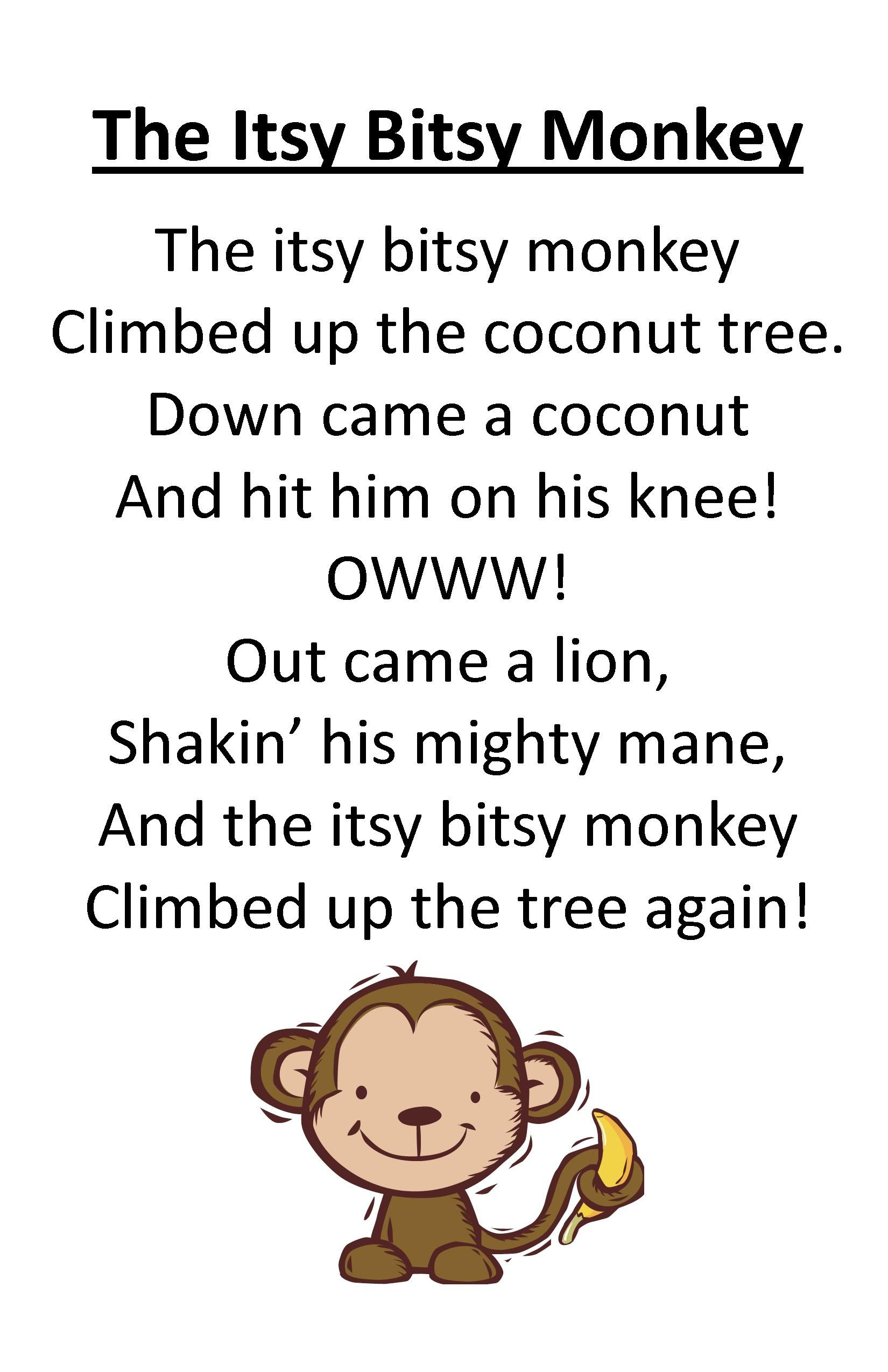 Itty Bitty Rhyme The Itsy Bitsy Monkey