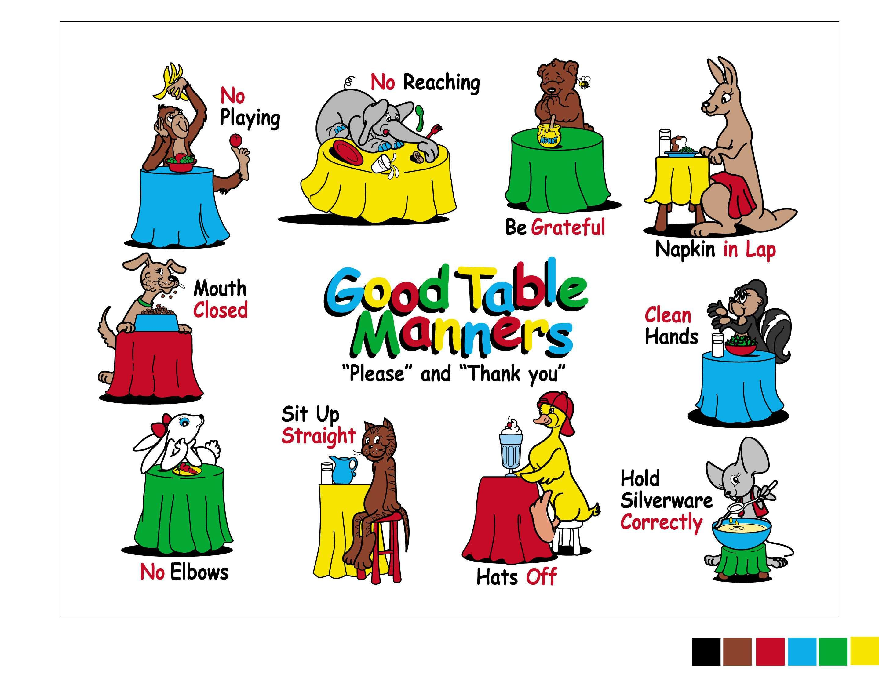 The Good Table Manners Placemat For Teaching 3 9 Year Olds From Self Presentations