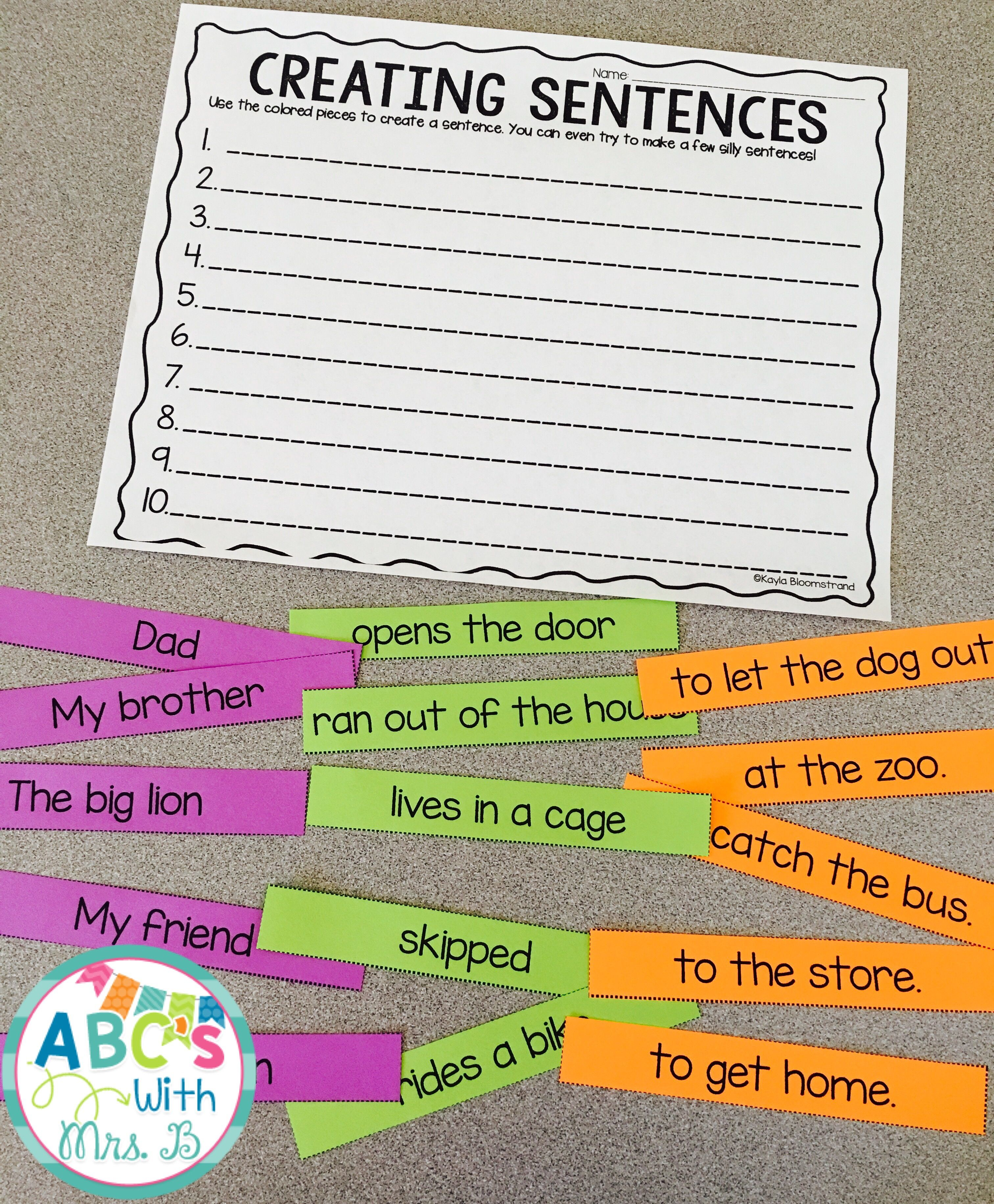 Get This Free Literacy Center Students Use The Different Parts To Create A Sentence There Are