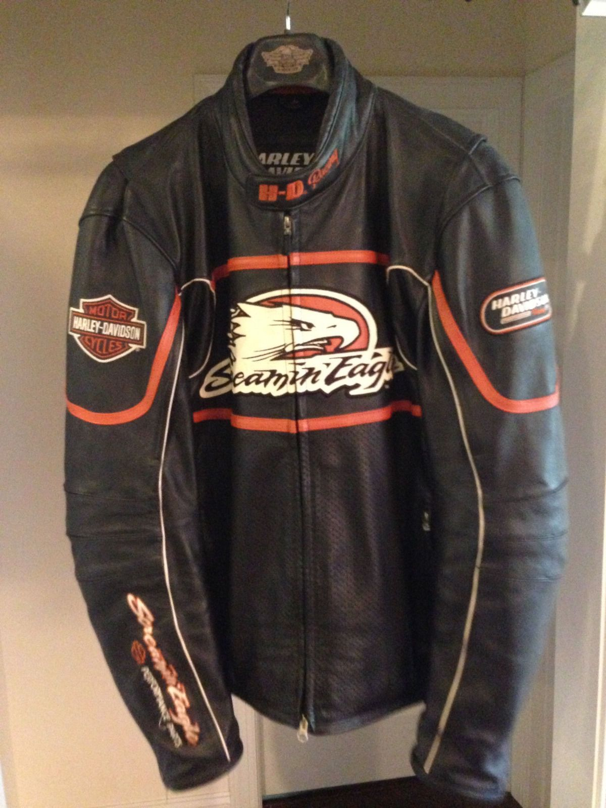 Harley Davidson Mens Screamin Eagle Raceway Leather Jacket