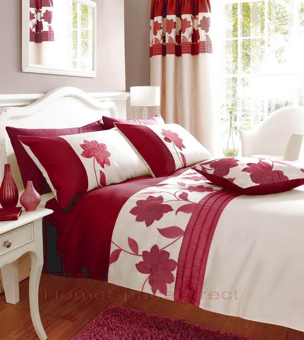 bedroom curtains with matching bedding | red bedding | matching