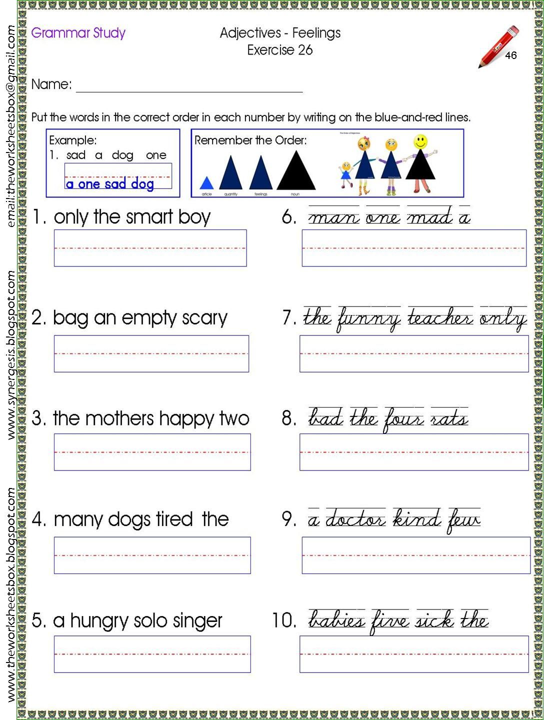 Sample Worksheet For The Order Of The Noun Family Study Get A Copy At
