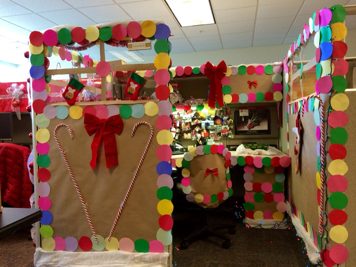 Christmas contest at work. Gingerbread decorated Cubicle