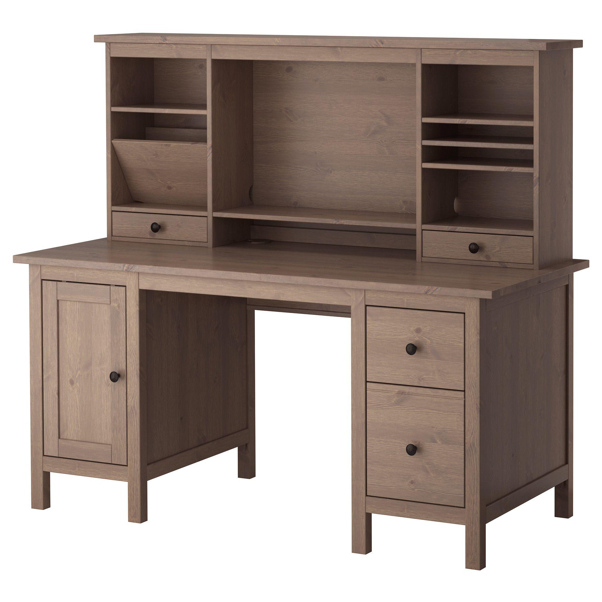 HEMNES Desk with addon unit, white stain HEMNES, Desks