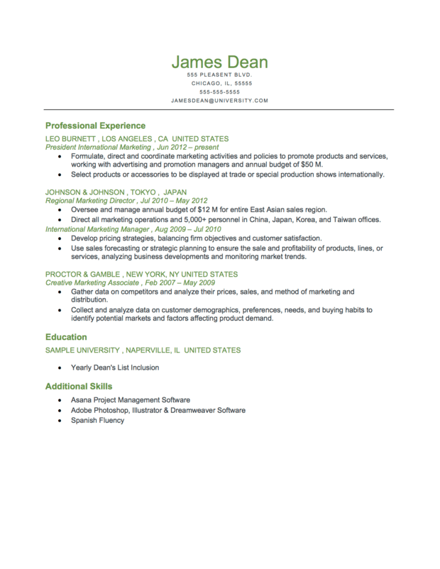 Example Of A Executive Level Reverse Chronological Resume