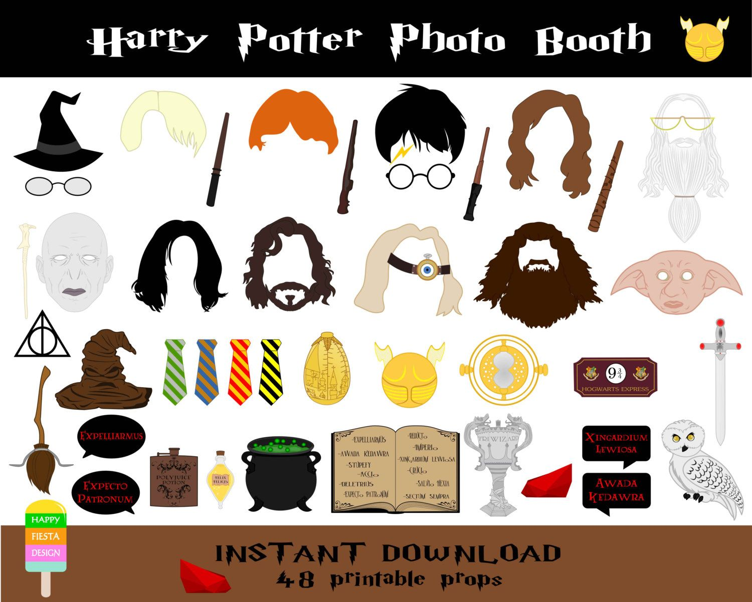 Harry Potter Photo Booth Props 48 Pieces Printable Harry Potter Props Wizard Party Photo Booth