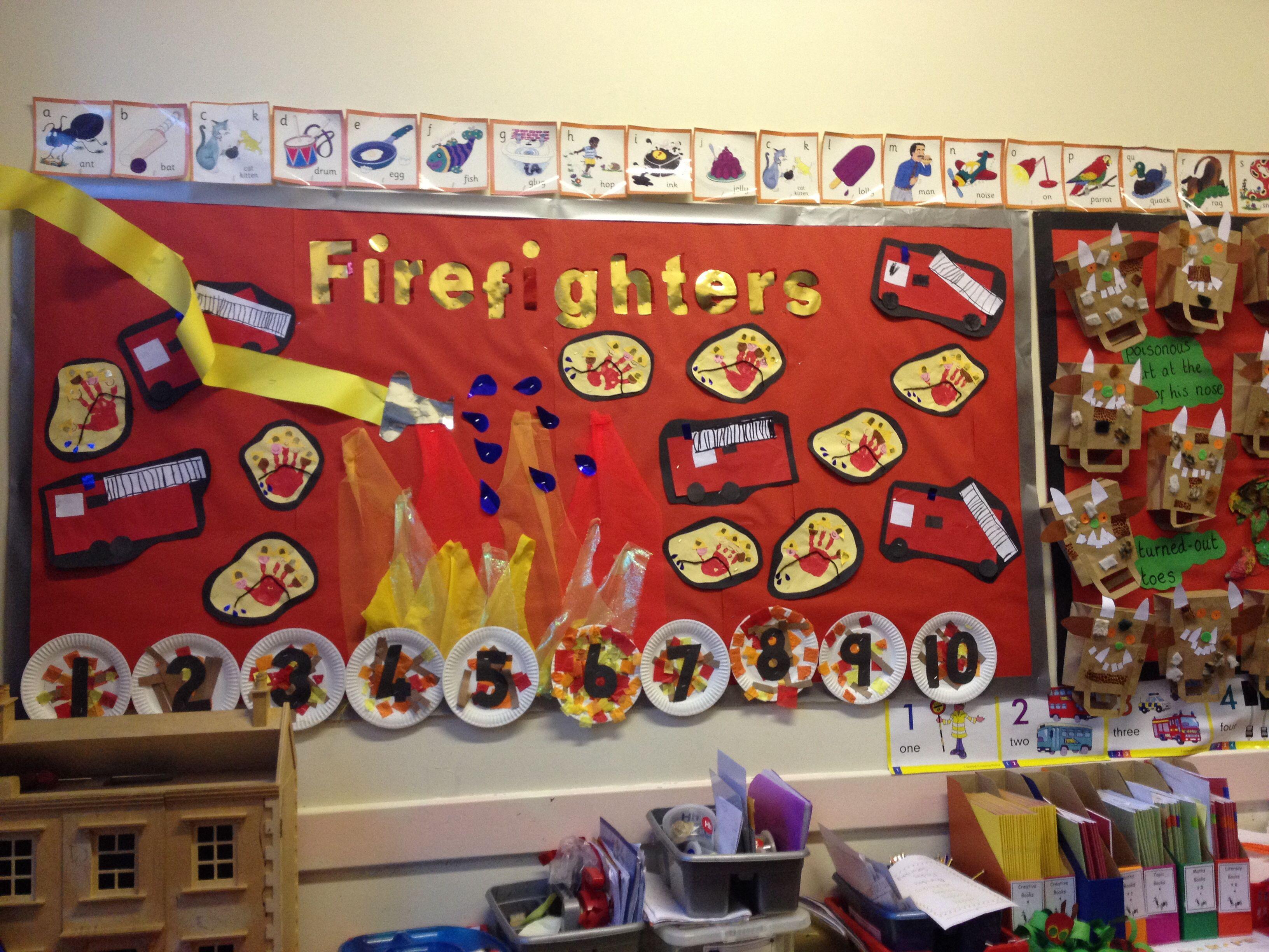 Firefighter Display Using 5 Little Firefighter Poem Art