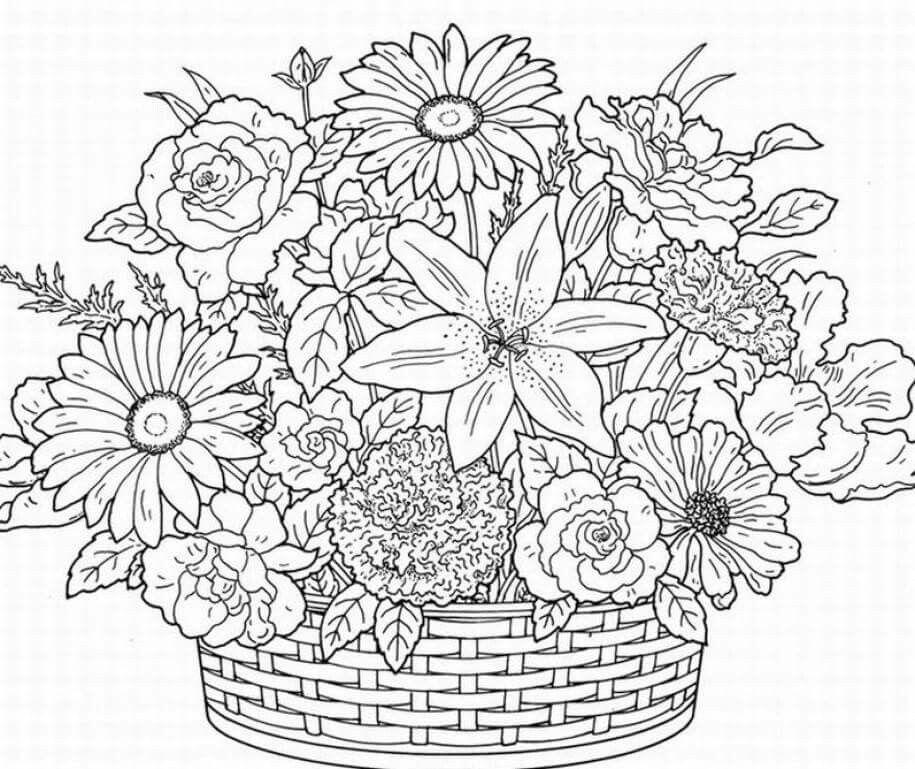 Flower basket coloring pages 2 Pinterest Flower basket