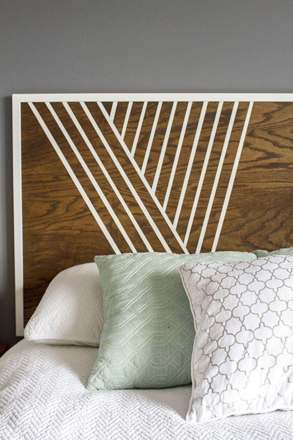 create your own headboard using birch wood trim and paint tete de lit diy