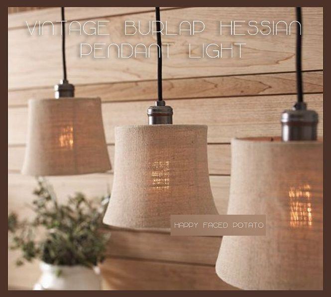 Burlap Hessian Cloth Pendant Light Chandelier Lamp Shade Edison Vintage Shabby C