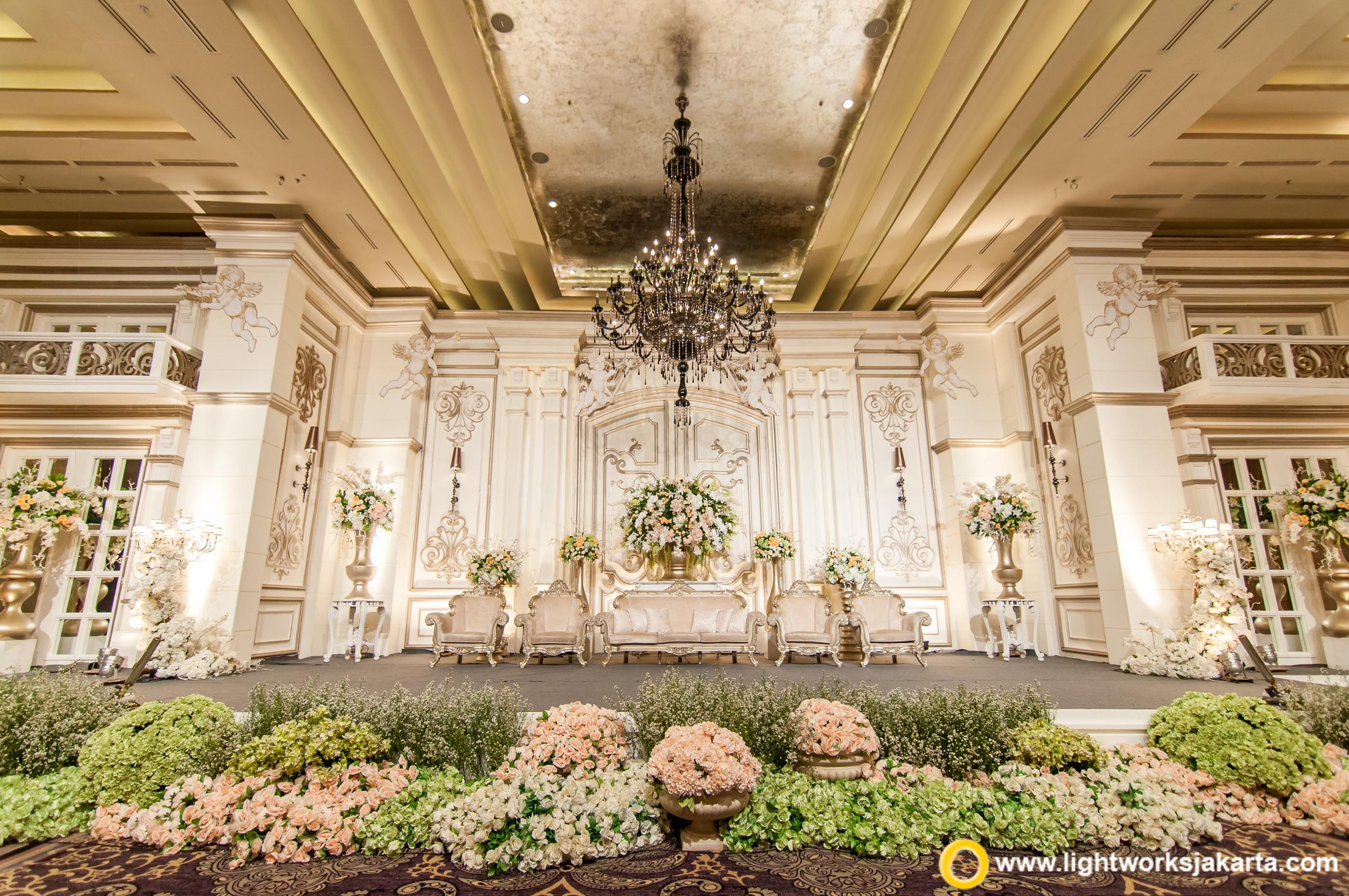 The elegant wedding stage at Kempinski Hotel Jakarta