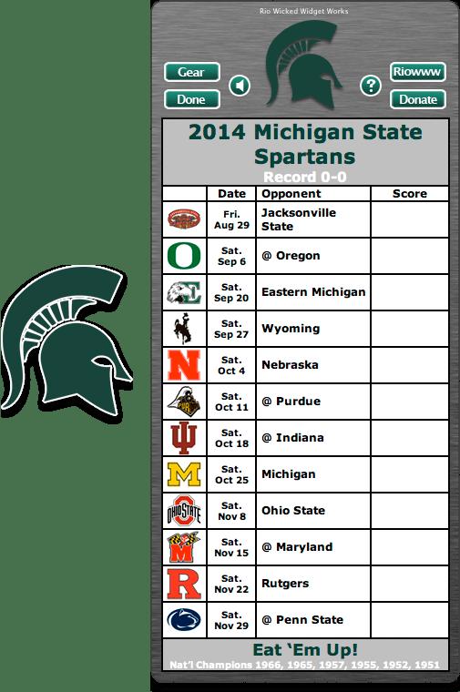 Free 2014 Michigan State Spartans Football Schedule Widget