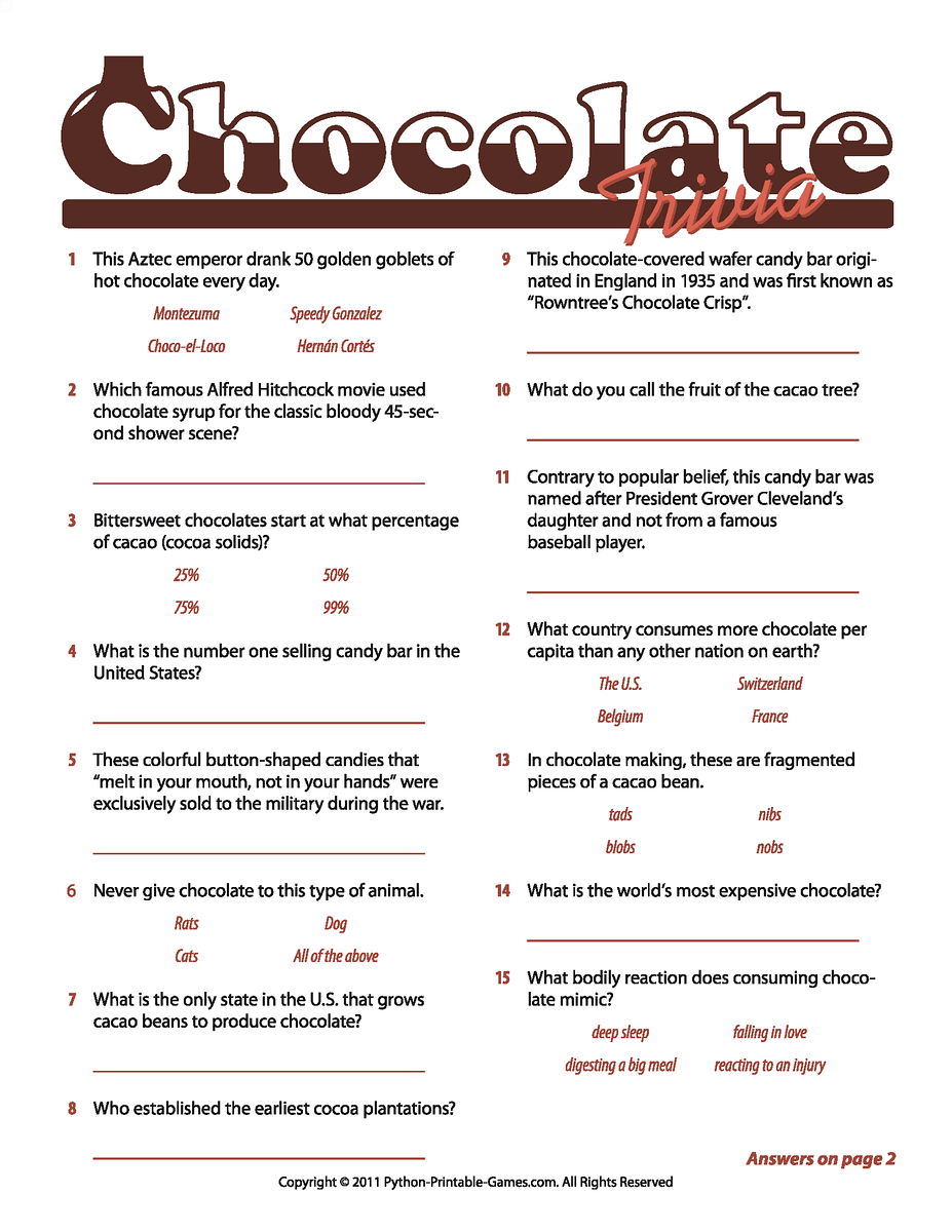 Chocolate Facts Trivia game Chocolate