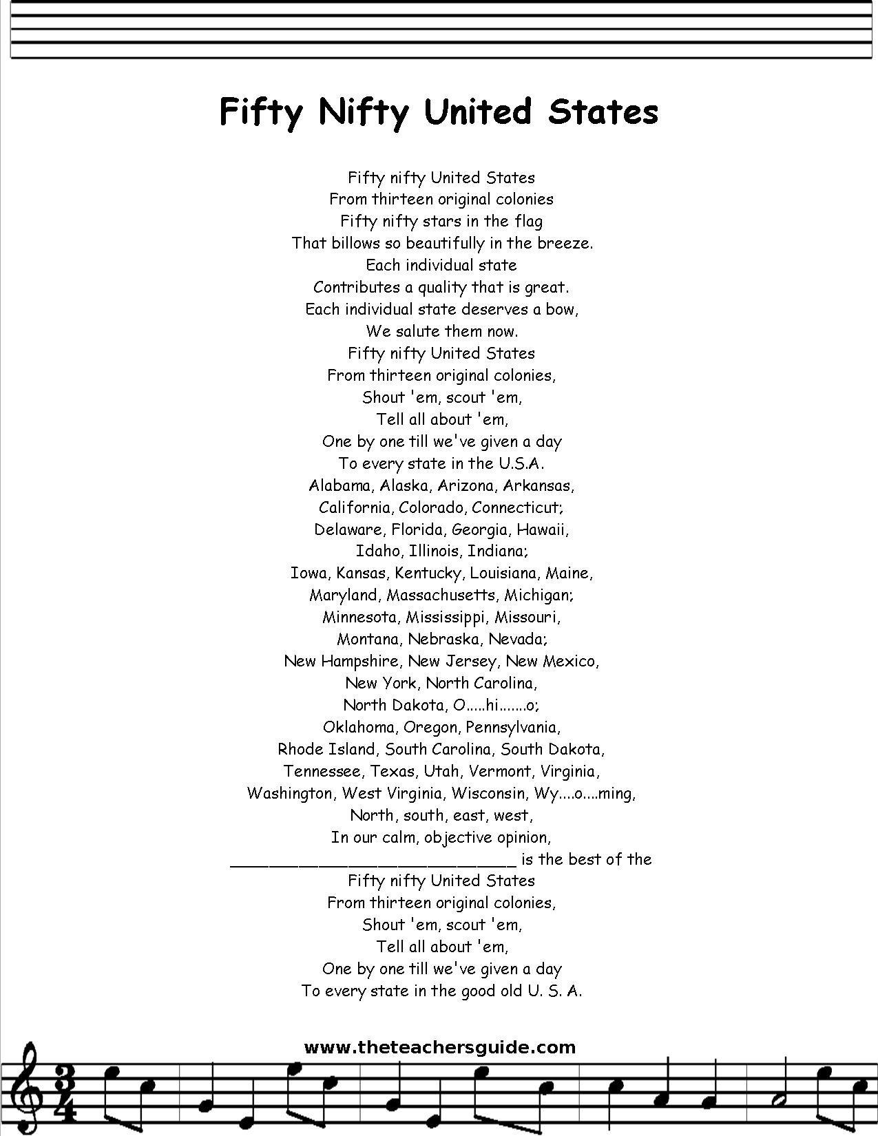 50 Nifty United States Lyrics