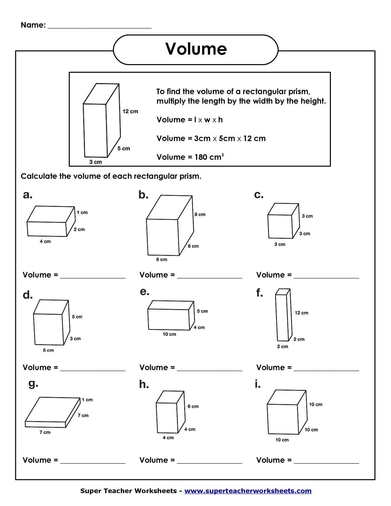 5th Grade Math Volume Worksheets