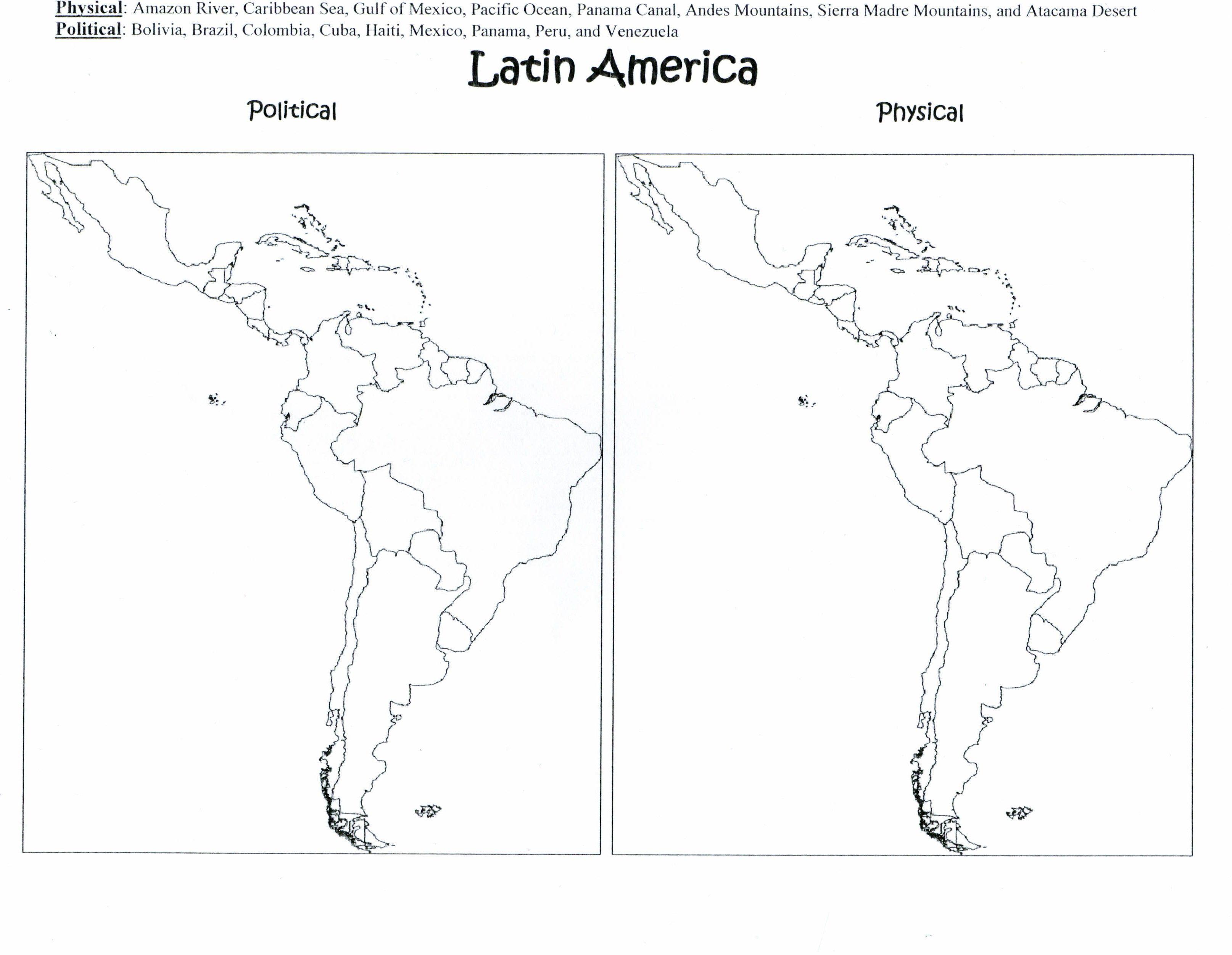 Latin America Politcal Amp Physical Maps Handout 3 229