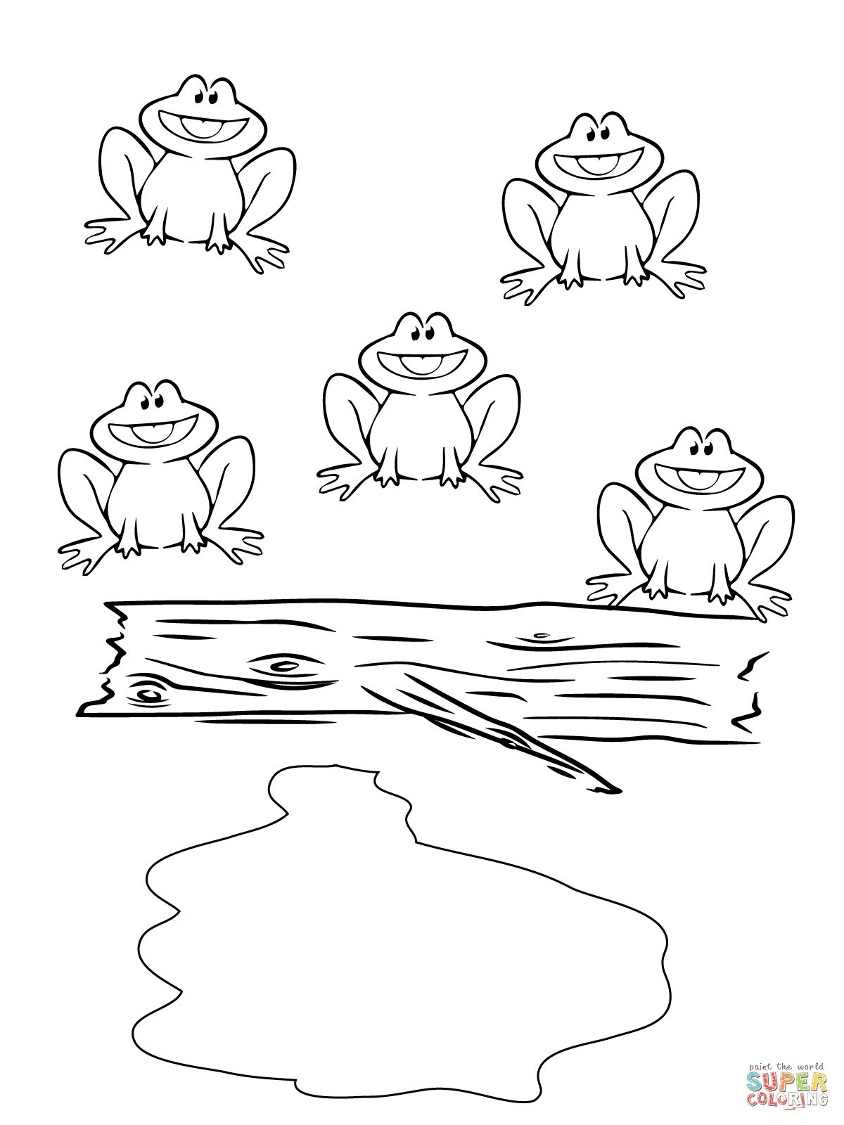 Five Little Speckled Frogs coloring page SuperColoring