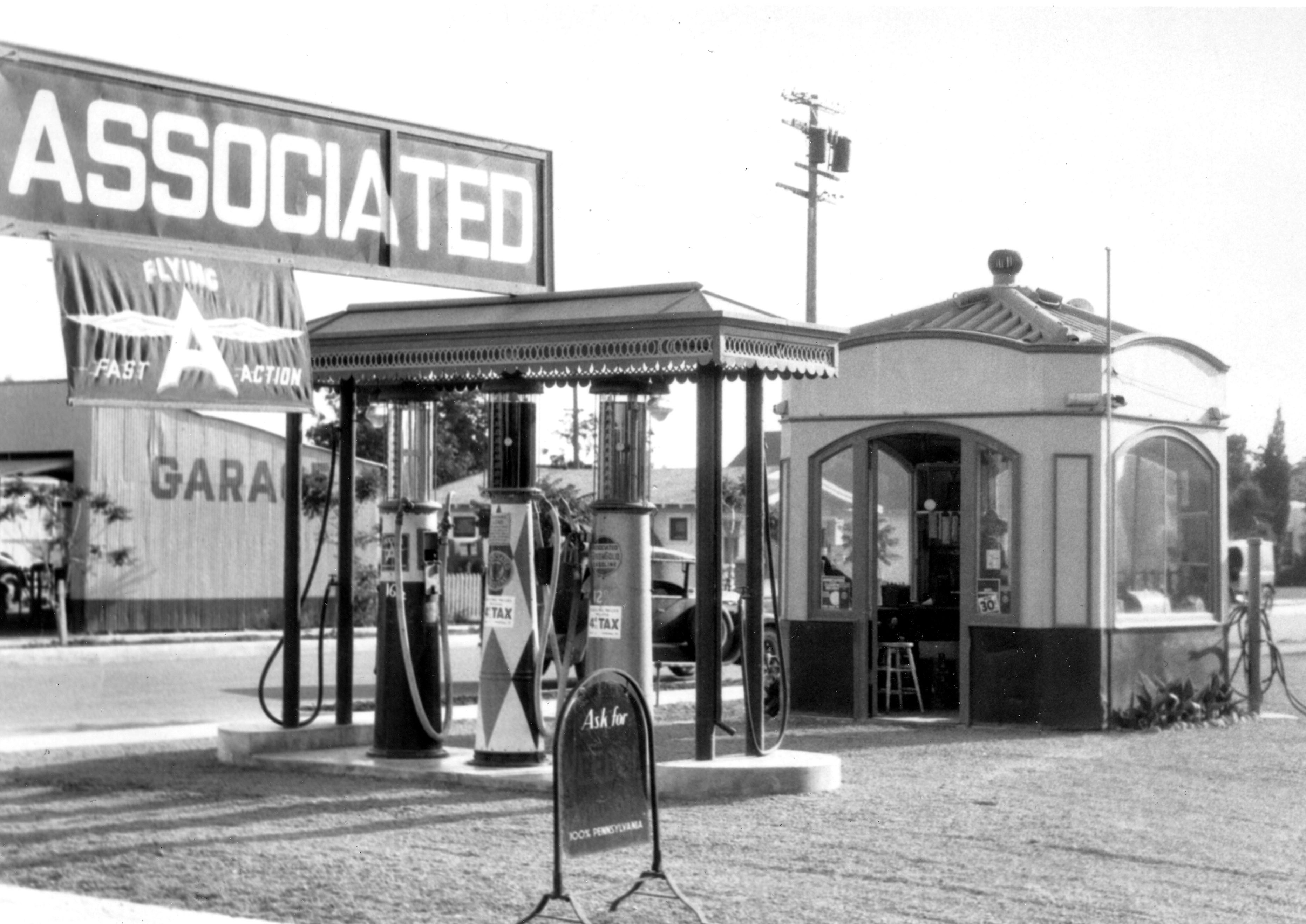 This Flying A service station was typical of the 1920s