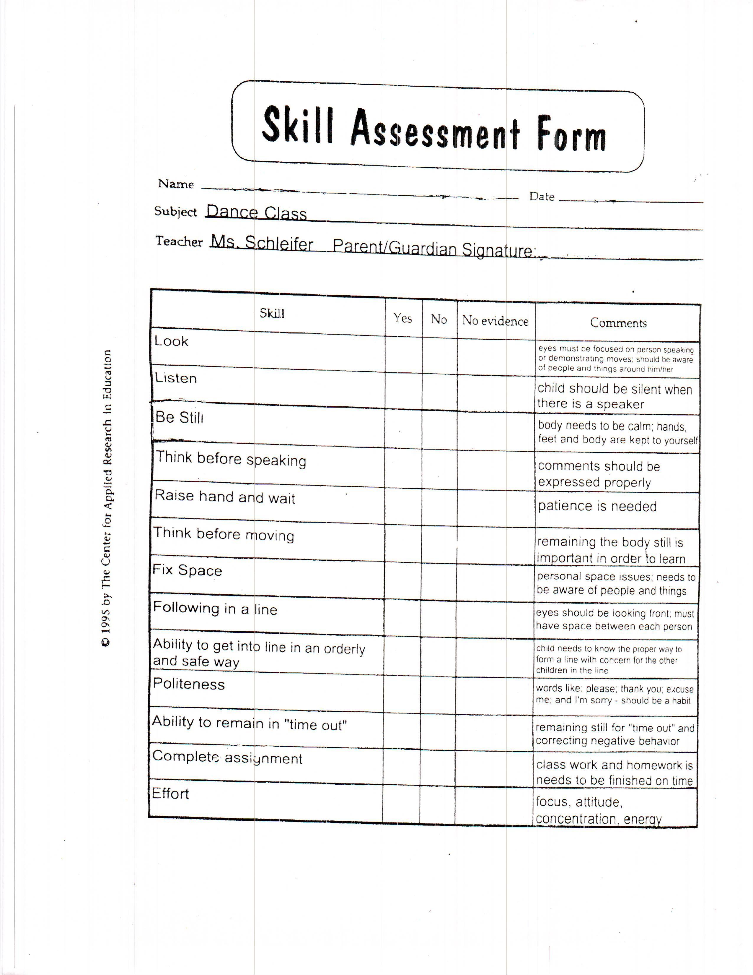 Dance Skill Assessment Form