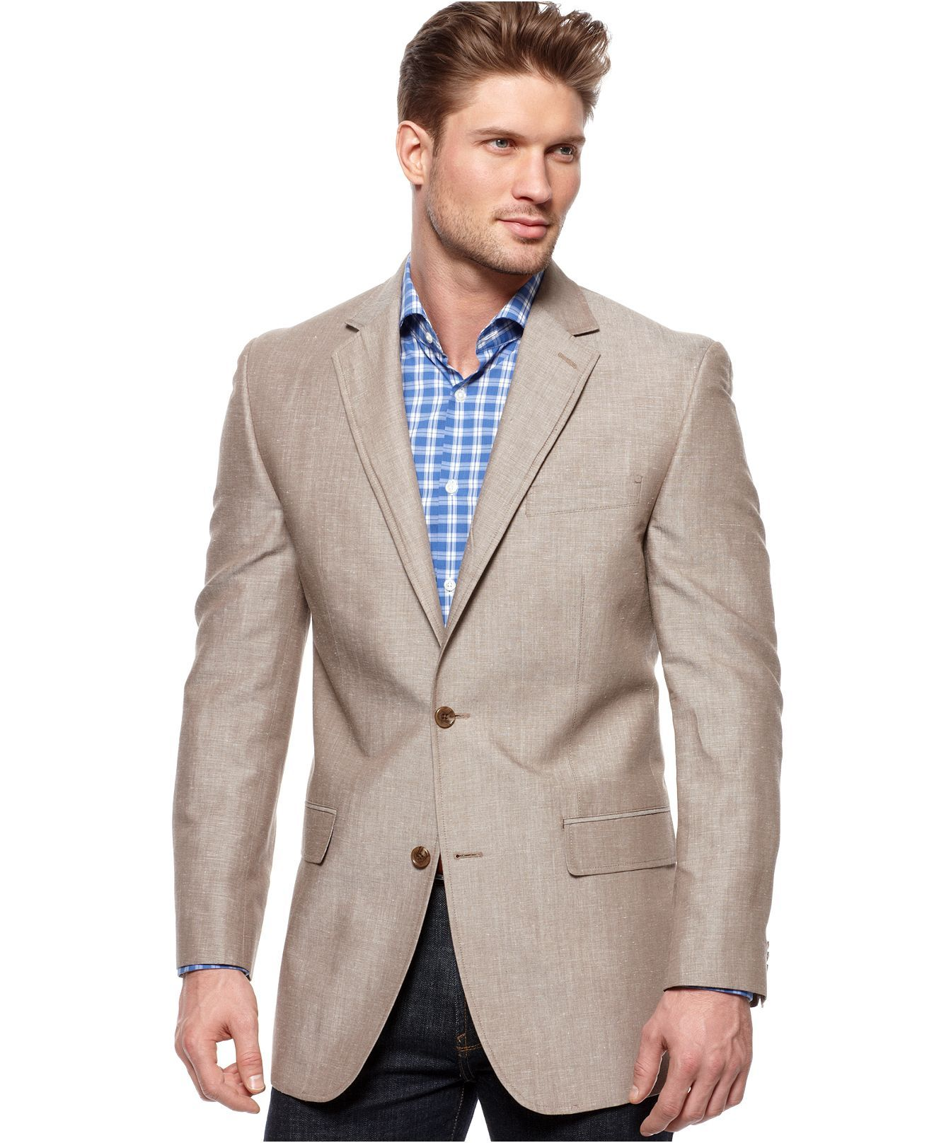 Michael Kors Jacket, Solid Linen Blazer Mens Blazers