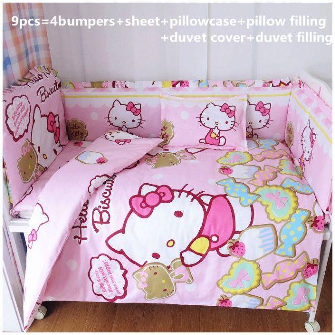 6 7pcs Hello Kitty Baby Bedding Sets Crib Mattress With 100