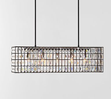 Adeline Crystal Rectangular Chandelier Large 37 Length