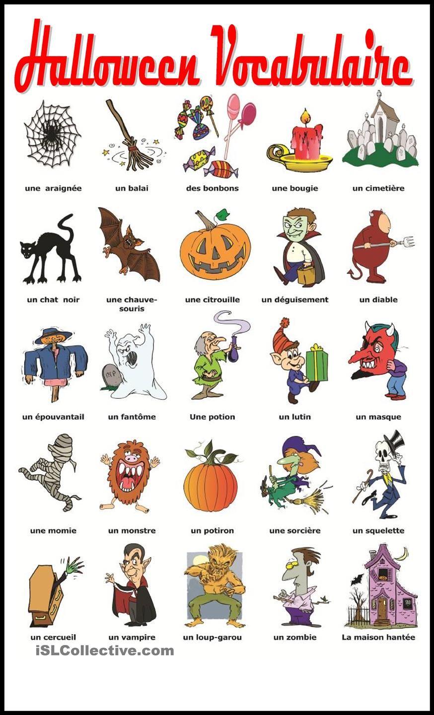 Halloween Vocabulaire Gratuit FLE worksheets … Pinteres…