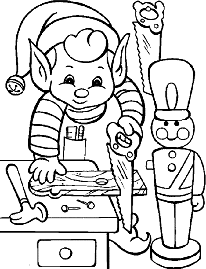 Printable Activity Elves In Christmas Coloring Pages