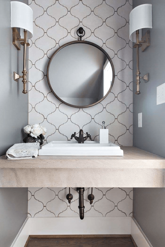 Powder Room Love. Arabesque Tiles, Limestone Tops, Kohler