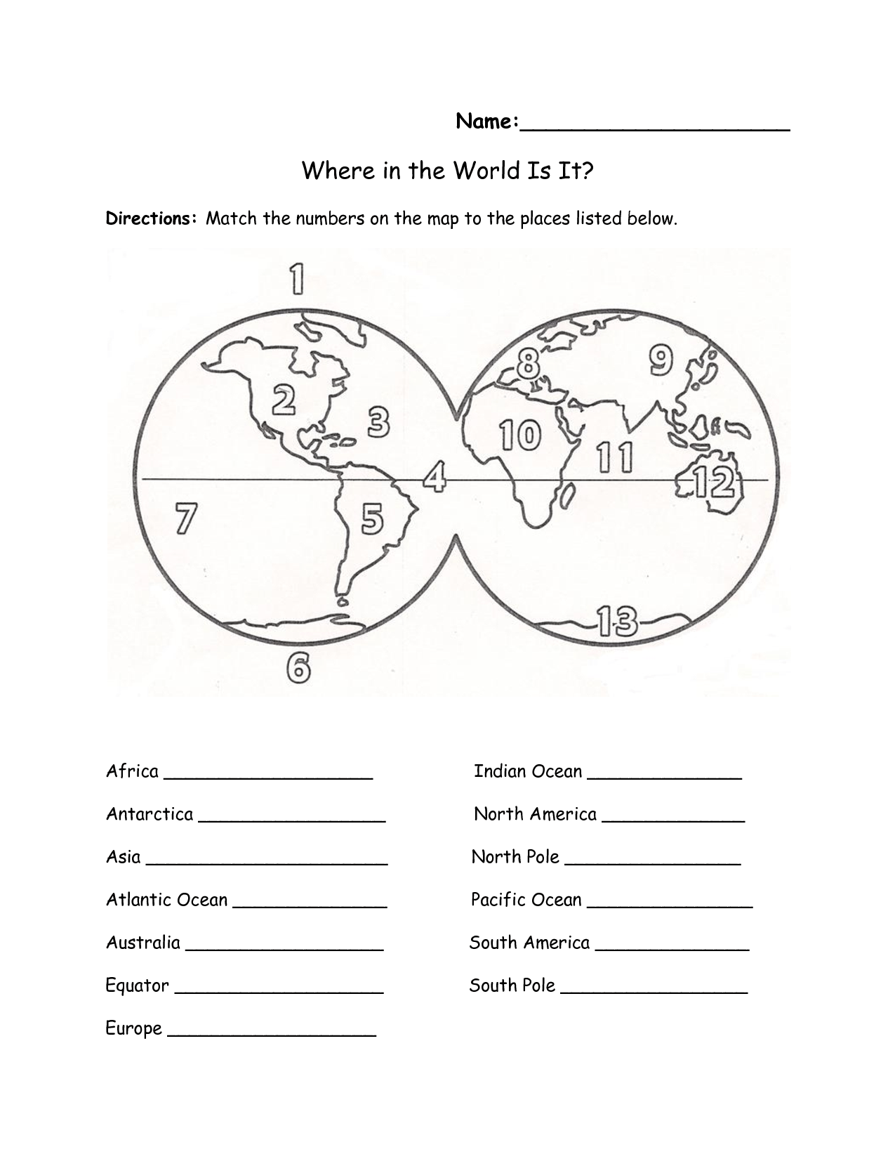 7 Continents Worksheet Unlabeled