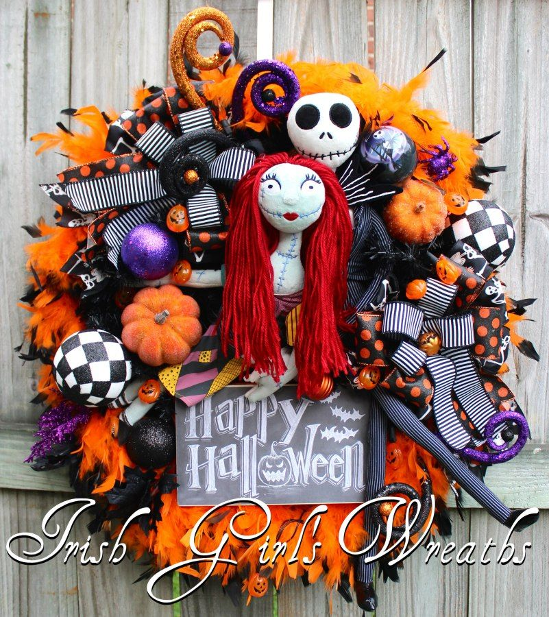 Nightmare Before Christmas Halloween Wreath, Sally and