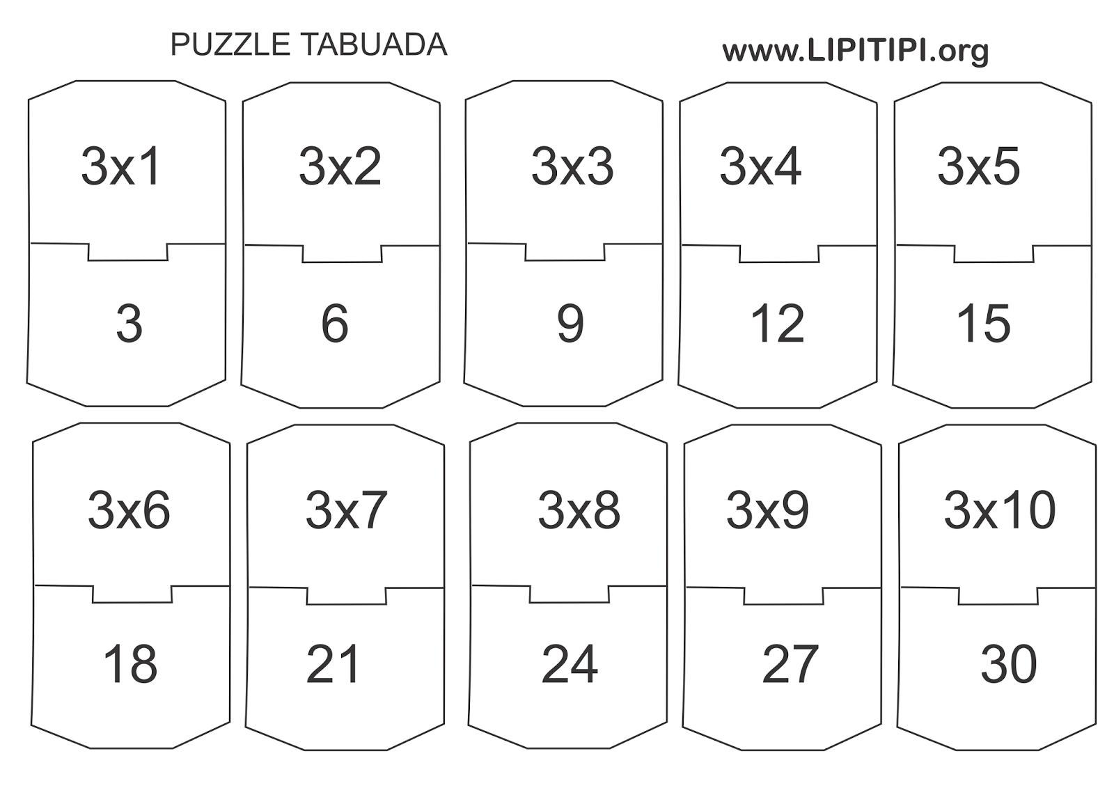 Puzzle Tabuada Divertida Jogo Pedagogico Multiplicacao