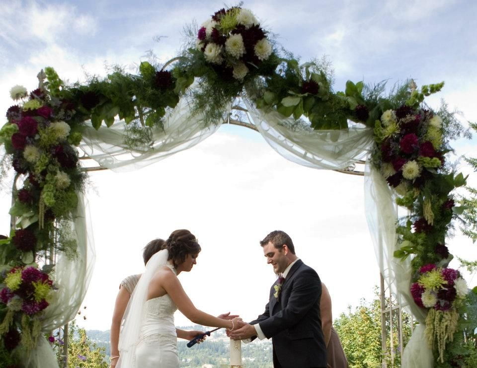 Wedding Arbor Flowers Garland Green Purple Dahlia Wedding