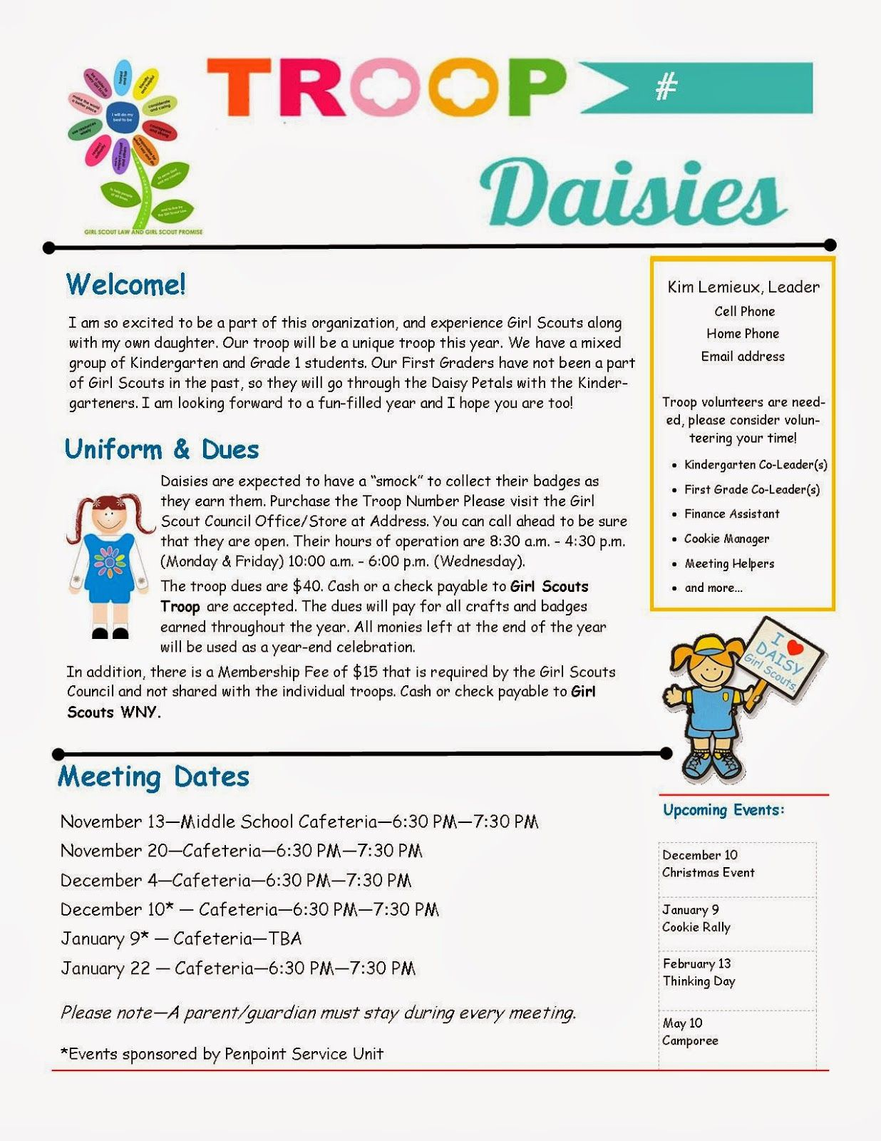 Daisy Troop Parent Newsletter Template