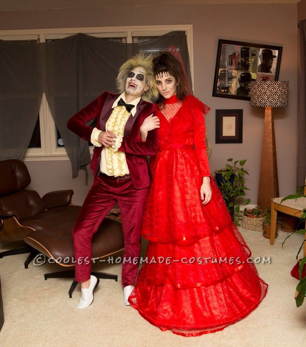 Lady Couple Lydia and Beetlejuice Homemade Costumes