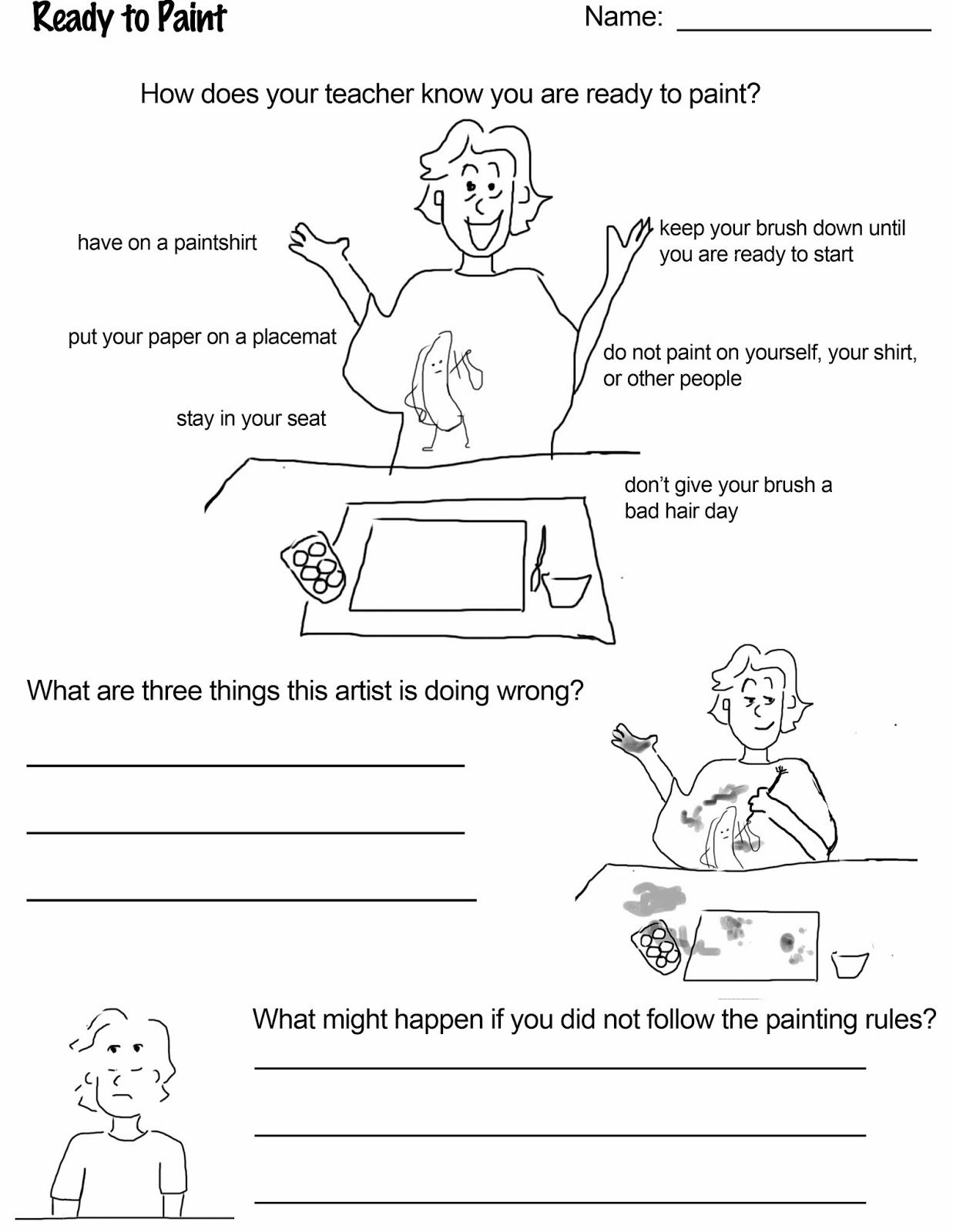 Ready To Paint Freebie Download For Art Class Reinforce Rules And Routine For Getting Ready To
