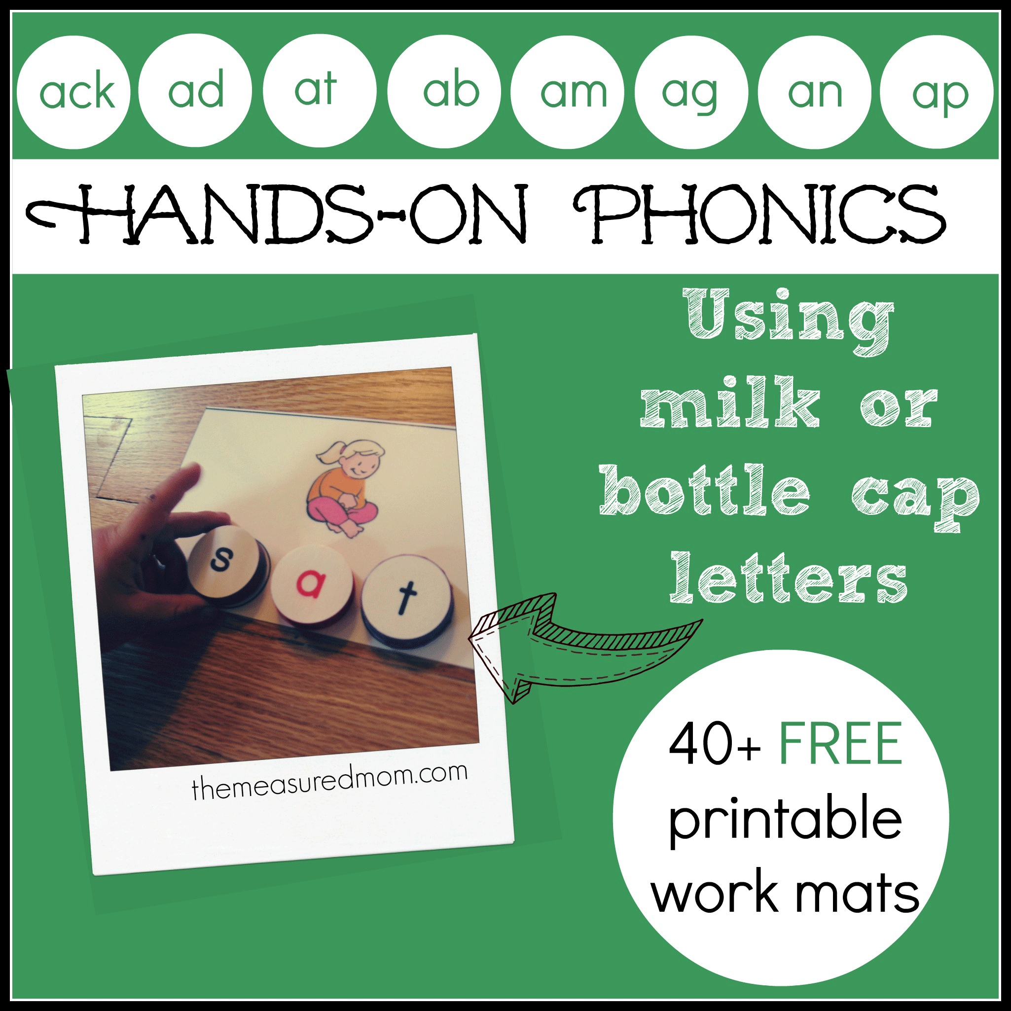 Hands On Phonics For Kids Spell With Milk Cap Letters Short A Word Family Printables