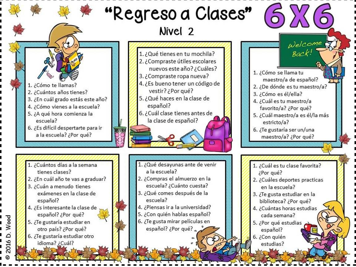 Middle School Spanish Conversation Worksheets Middle