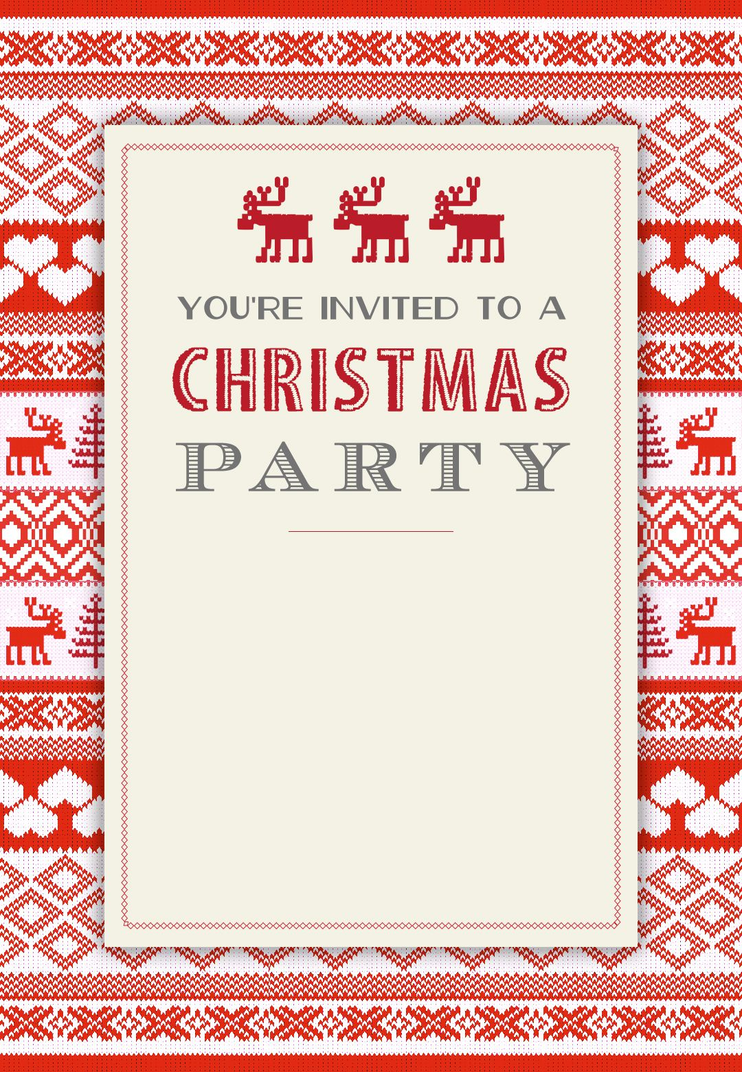Sweaters Pattern Free Printable Christmas Invitation