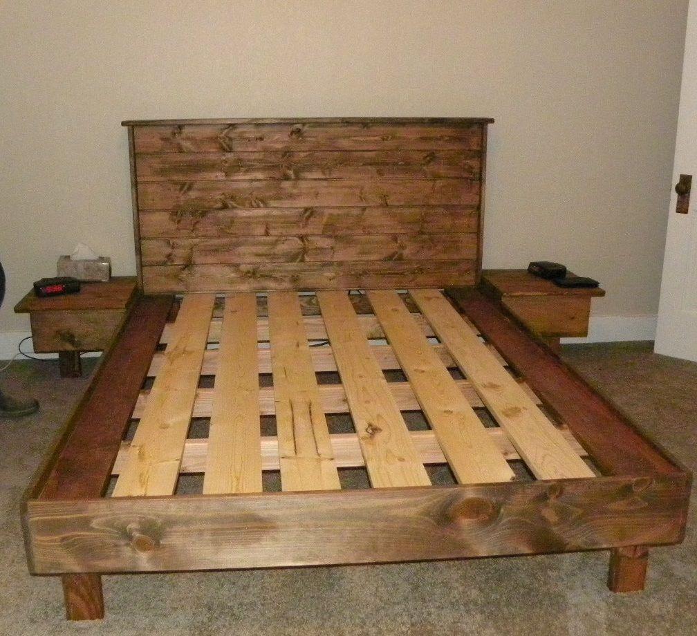 A queensize bed platform (no box spring necessary. Built