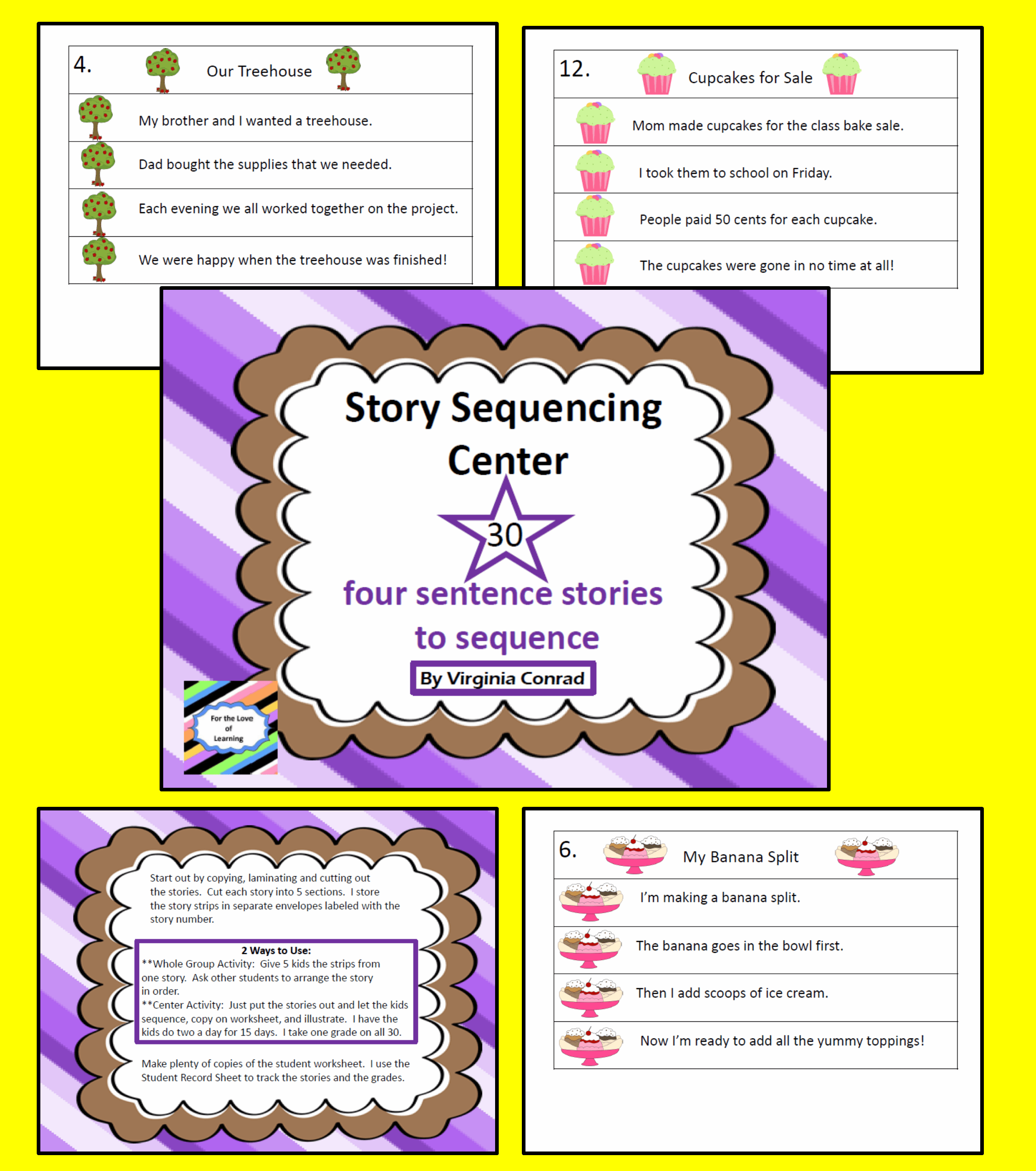 Story Sequencing Center 30 Four Sentence Stories To Put
